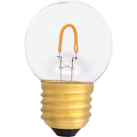 Żarówka kulka do girland wytrzymała LED fialment G45 0,6W plastikowa bańka 2400K 50lm girlanda