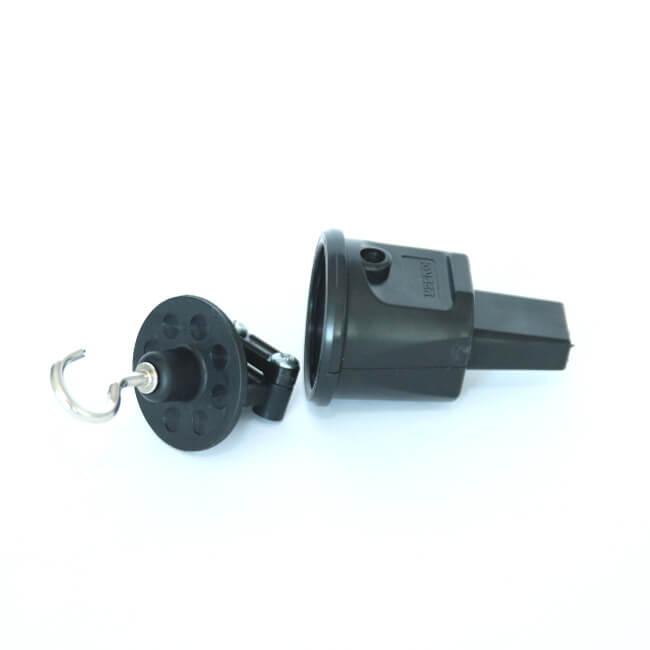 końcówka zabezpieczająca z haczykiem w kolorze czarnym girlandy ogrodowe