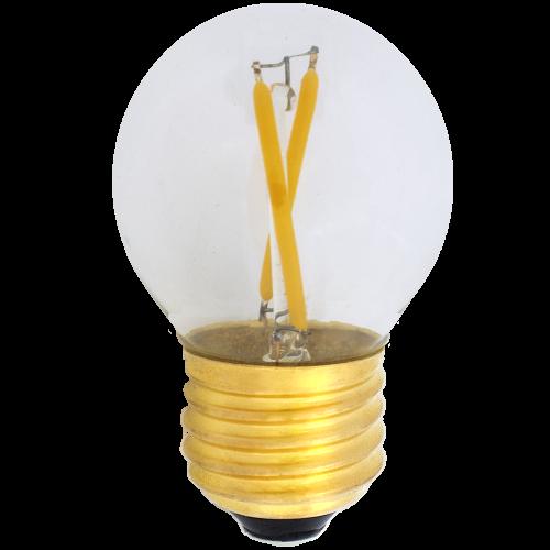 Żarówka do girland kulka LED fialment G45 2W plastikowa bańka 2700K 220lm ściemnialna