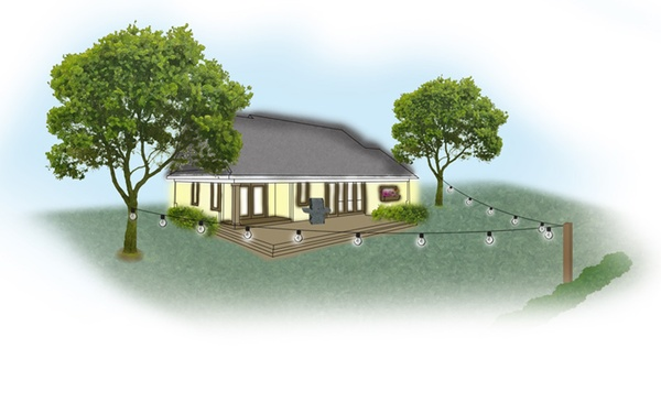 Na zdjęciu sposób rozwieszenia girlandy ogrodowej - łatwe oświetlenie ogrodu
