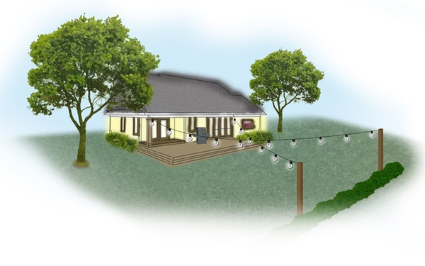 Na zdjęciu girlanda ogrodowa, żarówkowa w układzie X, wymienne żarówki
